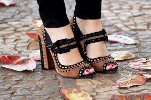 sapatos salto-bloco